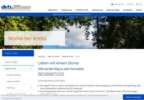 Screenshot Krebsinformationsdienst